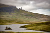 """Storr"" - the mountain, and ""The Old Man of Storr"" the basalt pinnacle.   !65 feet tall, not climbed untill 1955."