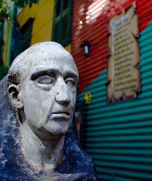 An image of Benito Quinquela Martín the La Boca born artist who inspired the colourful neighbourhood that inspired this gallery.
