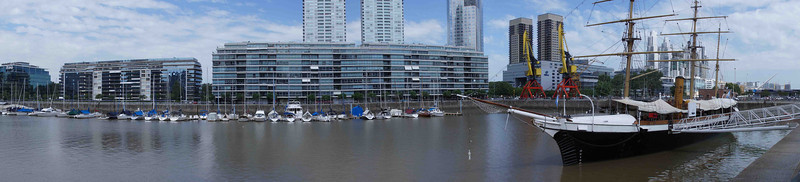 Panoramic view Puerto Madero in BA. The ship is the Uraguay (built in Birkenhead) and basis of one of the Argentinian claims to the Antarctic.