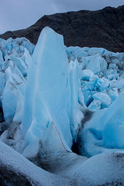 This glacier advances several metres a day and none of these ice features last more than a few days.