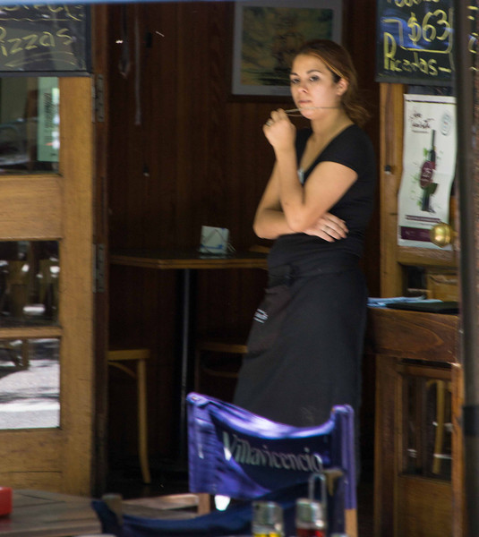 A bored waitress