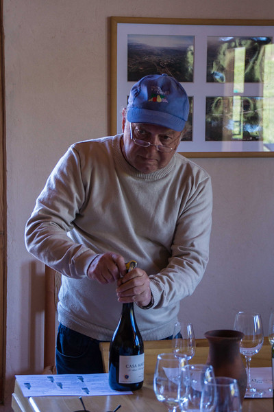 Oswaldo at Casa Marin pulls the cork on some of their special wines.