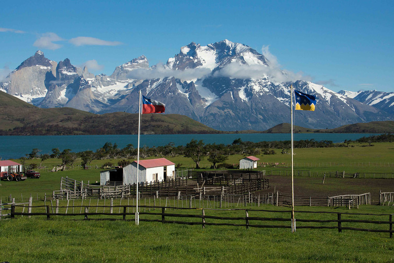 View of the Paine Peaks from Hosteria Mirador del Paine.