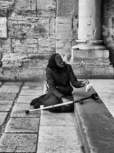 Beggar on Cathedral Steps, Lisbon