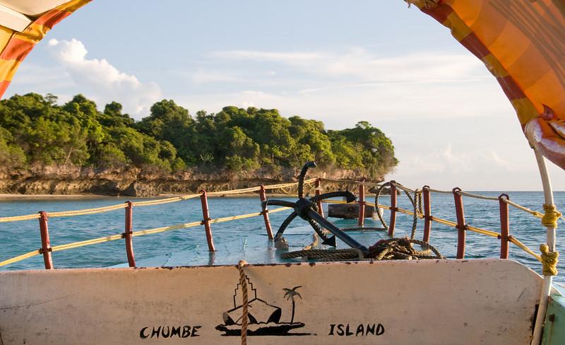 Approaching Chumbe Island.
