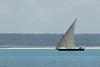 A dhow sails along the coast of Zanzibar.