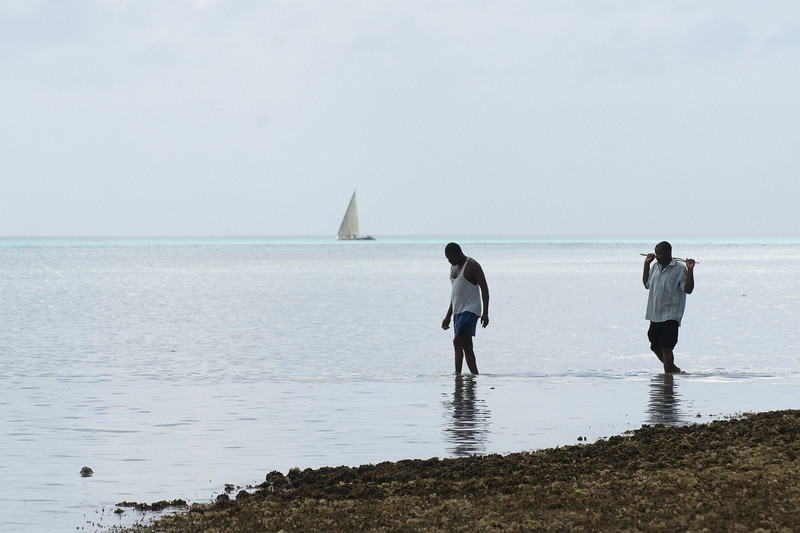 Fishermen on the unprotected side of Chumbe Island.