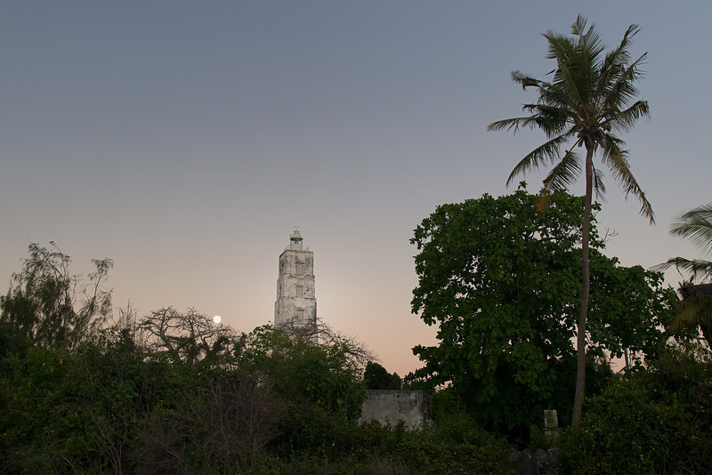 Sunset and moonrise at the Chumbe lighthouse.