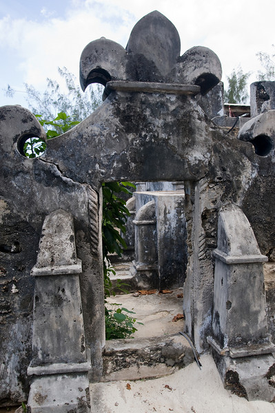 The ruins of an historic mosque are still used by staff members.