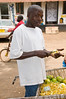 Selling peeled oranges.