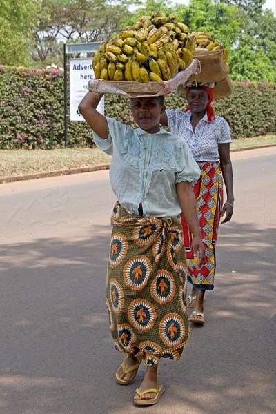 Women selling bananas outside Moshi.