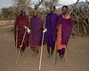 Masai warriors and girls perform a traditional dance.