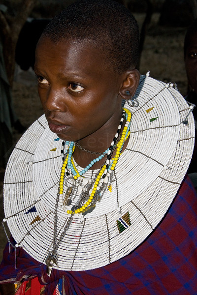 Masai girl dressed for dancing.
