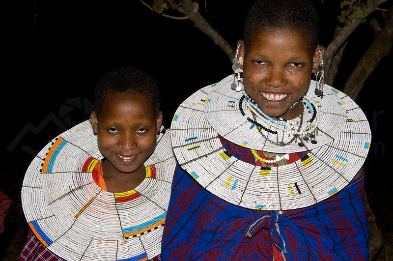 Masai girls dressed for dancing.