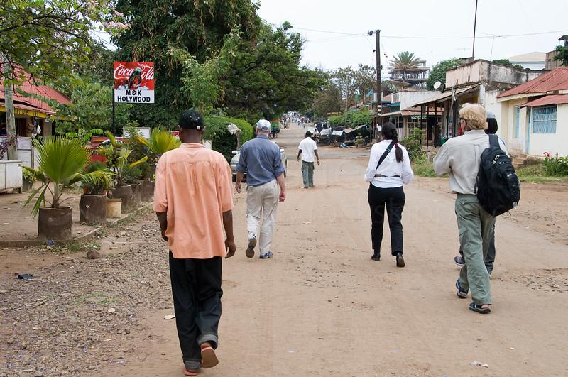 Walking through Moshi town.