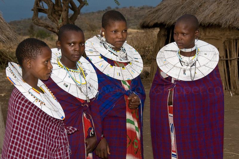 Masai girls dressed for dancing.
