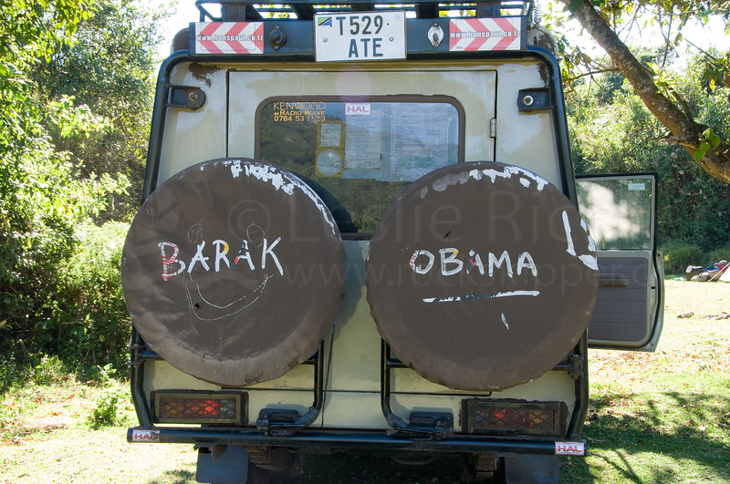 Pre-election - our guides decorated the dusty Land Cruiser.