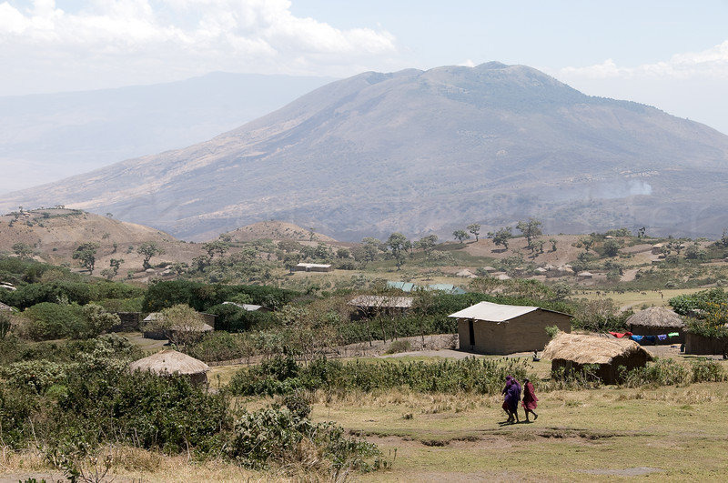 The village of Nayobi with Oldoinyo Kerimasi in the background.