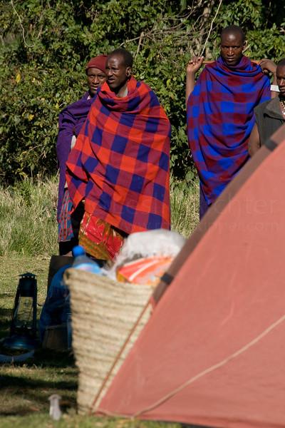 Masai guards at Nainokanoka campsite.