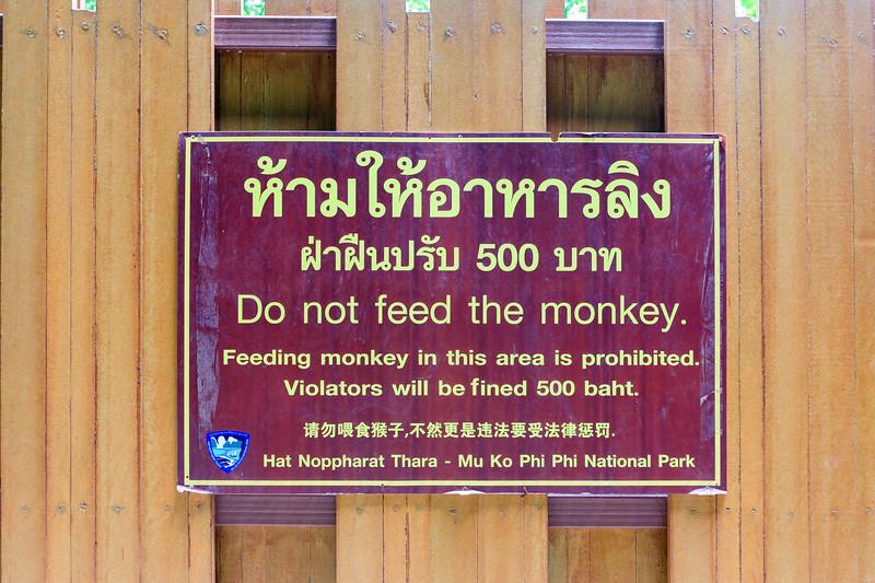 Do not feed the monkeys sign, Krabi, Thailand.