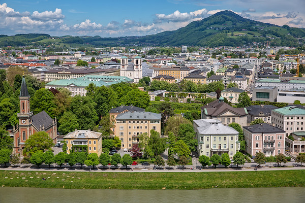 Panoramic view of the old town and the Salzsach river in Salzburg