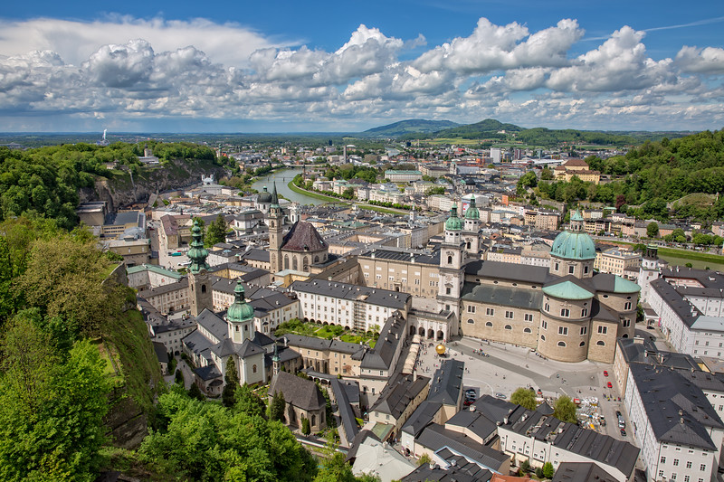 Fantastic view of the old town of Salzburg
