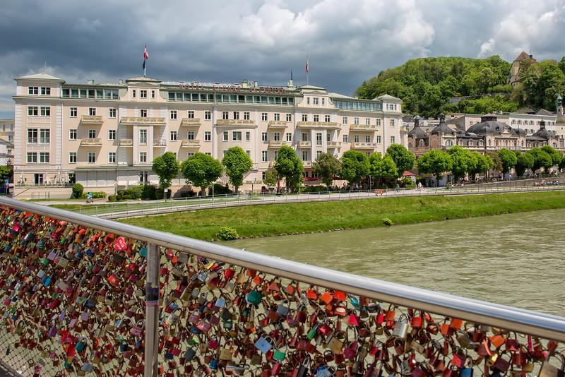 Makartsteg bridge over the Salzach River in Salzburg