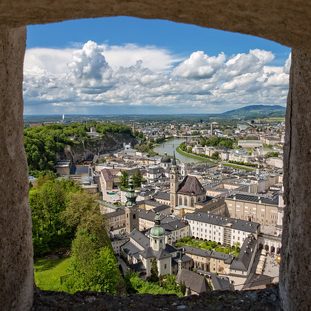 Great view of Salzburg through a window