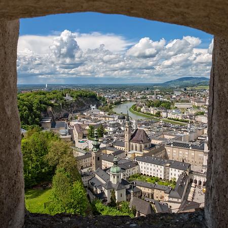 Great view of Salzburg through a window