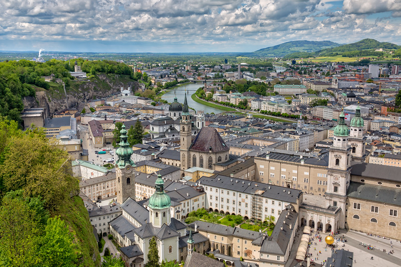 Panoramic view of the old town of Salzburg
