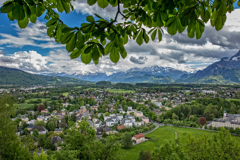 View from the fortress Hohensalzburg of the Nonntal