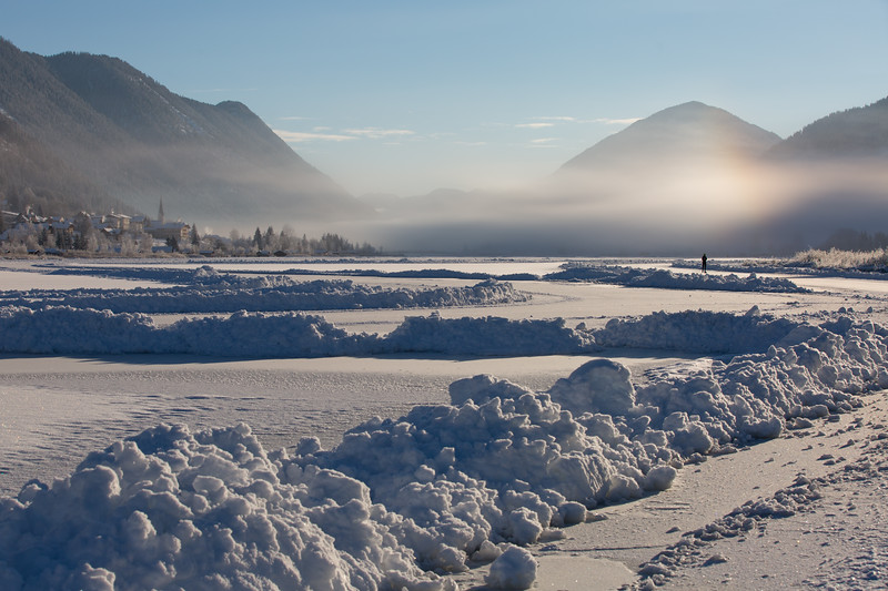 Cold sunny winter morning at the Lake Weissensee