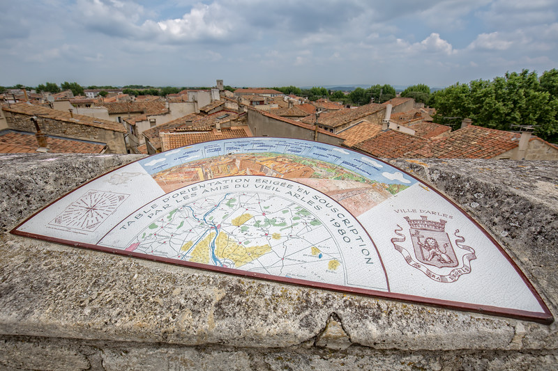 A view from above of the rooftops of Arles