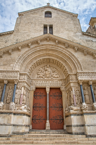 Beautiful architecture of entrance door of Church of Saint Trophime