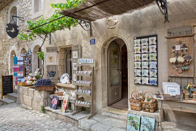 Souvenir shop in a medieval village of Les Baux de Provence