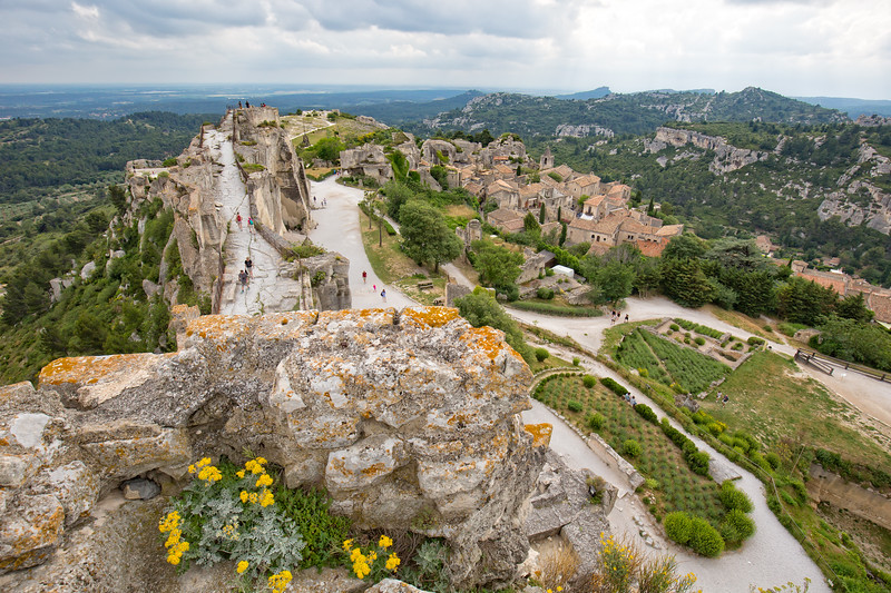 Panoramic view of the medieval castle of Les- Baux-de-Provence at the top of the hill