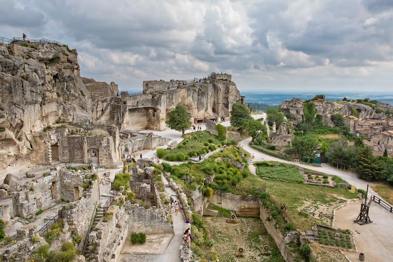 Aerial view to medieval fortress Les Baux de Provence