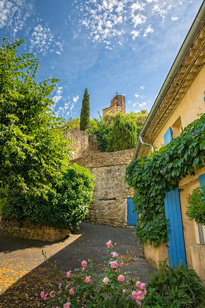 Colourful streetscape in Lourmarin