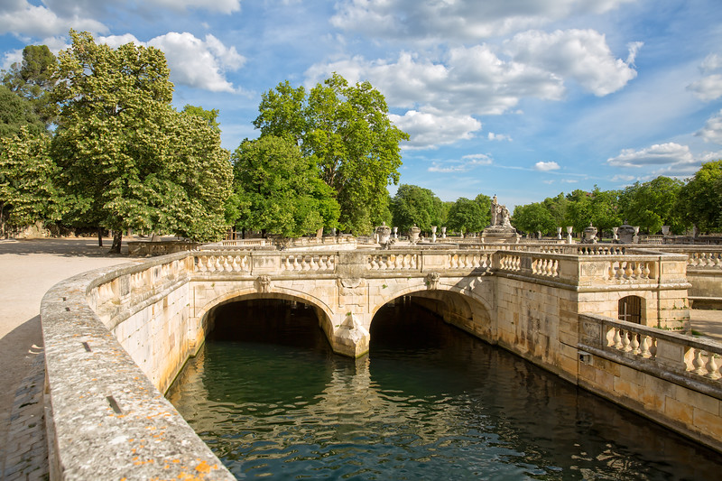 The Jardins de la Fontaine in Nîmes, pond and classical garden