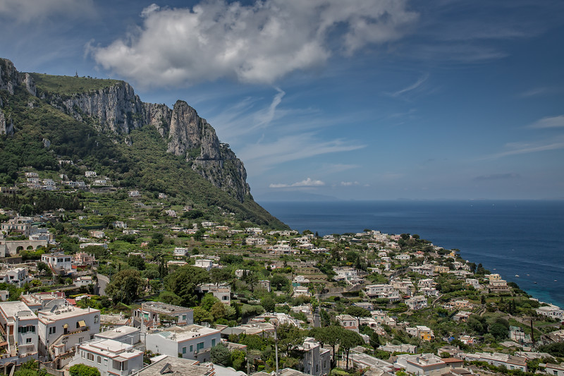 Rooftop view of the houses with typical architecture on Capri Island