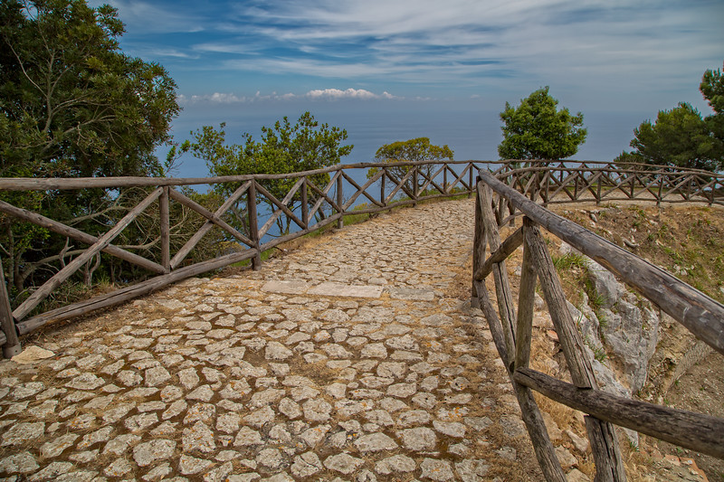 Steps leading to Villa Jovis in Capri