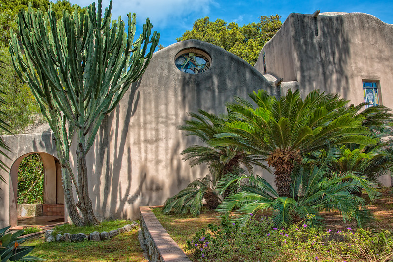 The little church Chiesa di San Michele alla Croce and its garden in romantic Island of Capri