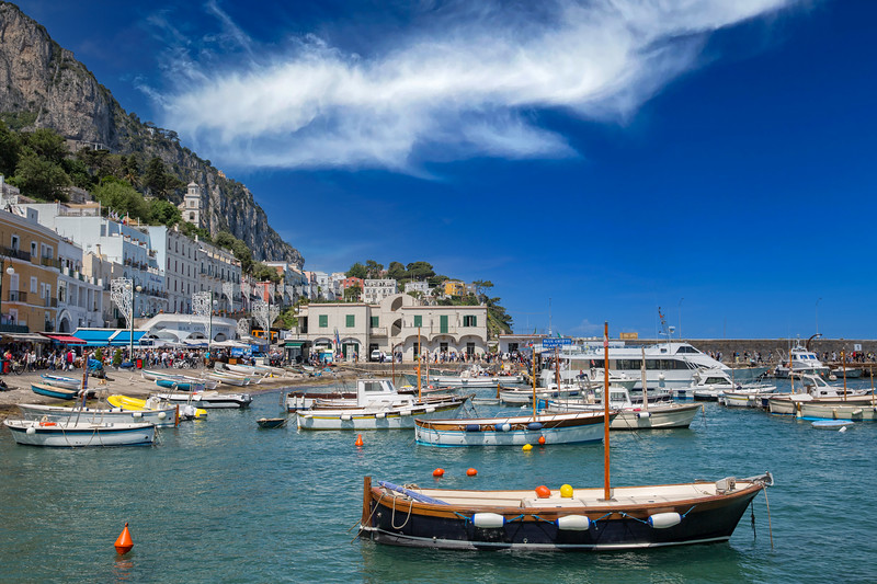 Marina with yachts and boats at Capri Island town