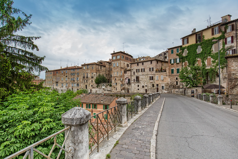 Street with old stone houses in Perugia