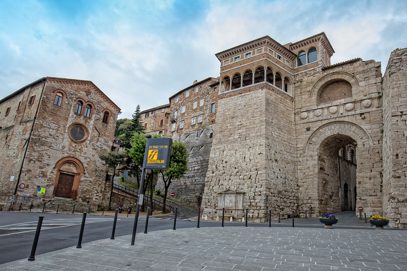 View of the  Etruscan Arch or Augustus Gate in Perugia