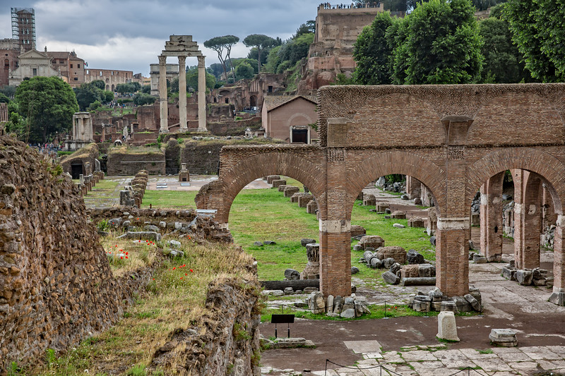 Scenic view of ancient roman ruins in the Forum Romanum