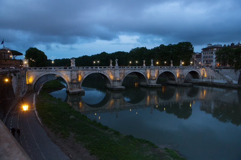 Night lights of the bridge Ponte Sant'Angelo