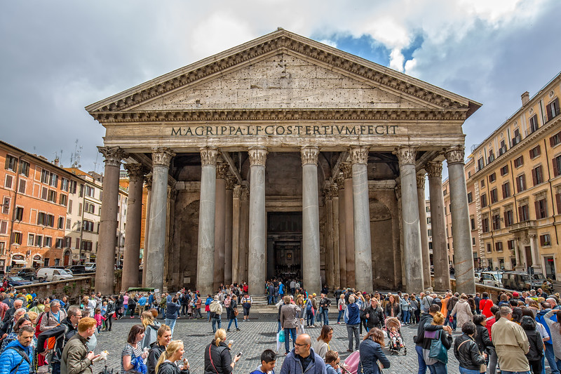 People visit the Pantheon in Rome