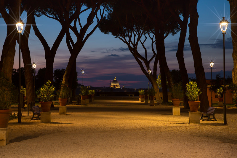 Orange Gardens on Aventine hill at sunset