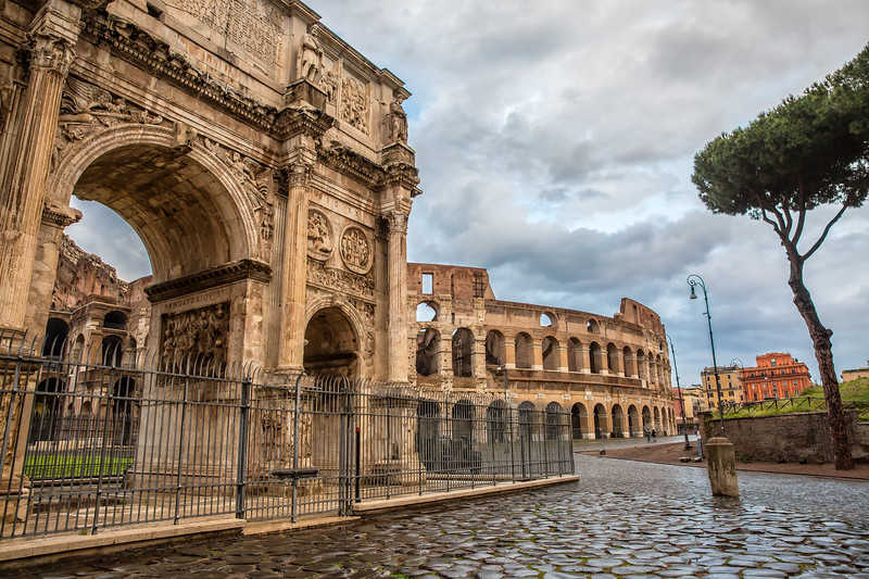 Scenic view of Ancient Roman ruins in the Rome center